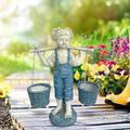 Flowers for Felicity Garden Sculpture in Stone Little Girl Garden Statue Two Tone Stone Garden Statues Garden Sculptures & Statues Yard Decor Yard Art Garden Figurines Outdoors