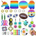 BTSRPU 37pcs Sensory Toys Pack Squeezing Anti-Stress Toys Decompression Toys for Kids and Adults Party Favors, Gifts for Kids&Adults with Autism, Tie Dye Push Pop Bubble Toy & More…