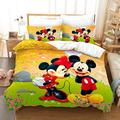 """3Pcs Mickey Minnie Mouse Kids Bedding Set Queen Size 3D Cartoon Mickey Theme Duvet Cover for Boys Girls Toddler Soft Microfiber Comforter Cover Bedding Set with 2 Pillowcases (C,Queen(90""""x90""""))"""