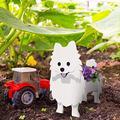 Dog Planter, Cute Garden Animal Shaped Cartoon Succulent Planter, Wooden French Bulldog Planter, Chihuahua Dog Planter, Cute Dog Design Herb Succulents Flower Pot for Garden Decoration (D)