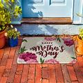 """PVC Doormat Entrance Rugs Heavy Duty Welcome Mats, Floral Mother's Day Blooming Floral Outdoor Indoor Mats Non Slip Rubber Backing for Front Door/Garage/Garden, 18""""x 30"""" Mother's Day Beige Backdrop"""