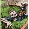 Tinydimple Zombie Crawling Out of Grave, The Zombie with Solar Led Lantern, Zombie Gnome Garden Statues, Horror Movie Garden Gnomes Statue, Walking Dead Statue for Outdoor Garden Patio Outdoor Decor