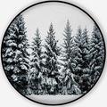 Winter Snow Covering Evergreen Pine Tree Woods Forest Landscape,Round Rug Minnesota Non-Slip Backing Round Area Rug Living Room Bedroom Study Children Playroom Carpet Floor Mat 5'Round
