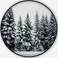 Winter Snow Covering Evergreen Pine Tree Woods Forest Landscape,Carpet/Rug Round Rug Minnesota Non-Slip Backing Round Area Rug Bedroom Study Children Playroom Carpet Floor Mat 3'Round