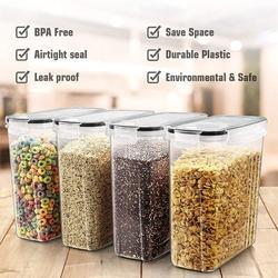 Prep & Savour Large Cereal & Dry Food Storage Containers, Airtight Cereal Storage Containers For Sugar, Flour, Snack, Baking Supplies in Black