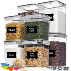 Prep & Savour Flour Sugar Containers Set, 8 Piece Airtight Food Storage Containers w/ Lids For Cereal & Dry Food in Black, Size 9.1 W in | Wayfair