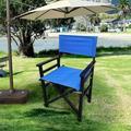 Latitude Run® Folding Chair Wooden Director Chair Canvas Folding Chair Folding Chair 2Pcs/Set Populus + Canvas Solid Wood in Blue/Black   Wayfair