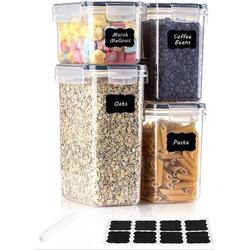 Prep & Savour Airtight Food Storage Containers 4 Pieces Plastic BPA Free Kitchen Pantry Storage Containers For Sugar in Black   Wayfair