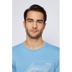 Cotton Jersey T Shirt With Abstract Graphic Print - Blue - BOSS by Hugo Boss T-Shirts