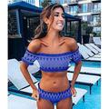 Yangmanini Two-Piece Swimsuits for Women New Sexy Strapless Shoulder Bikini Backless Girls Split Swimsuit (Color : Blue, Size : L)