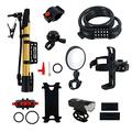 Bike Accessories Kit, USB Rechargeable Bike Headlight, Bicycle Lock Chain, Bike Phone Mount, Bike Water Bottle Holder, Bicycle Bell, Bicycle Pump 6PCS