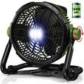 Super wind speed Outdoor Floor Fan with Light 14400mAh Large Battery Operated Powered Fan, Portable Rechargeable Fan Cordless High Velocity Industrial Metal Fan, for Garage Gym Camping Travel Office