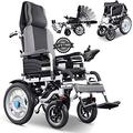 Full Reclining Wheelchair Foldable Disabled Electric Wheel Chair Adjustable Backrest Foot Pedal Mobility Aid Power Chair Adjustable 360° Joystick Comfortable Shock Absorber,25km