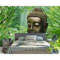 ZCLCHQ Wall Mural 3D Forest & Buddha Statue Custom Wallpaper 3D Effect Large Mural Wall Murals Home Decor W200 X H140 cm