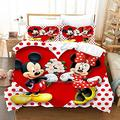 Kiusad Mickey Minnie Mouse Bedding Set King Size Kids 3D Cartoon Mickey Minnie Heart Duvet Cover Bed Sets 3 Pieces 1 Duvet Cover 2 Pillowcase, No Comforter