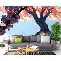 ZCLCHQ Wall Mural 3D Purple & Big Tree Custom Wallpaper 3D Effect Large Mural Wall Murals Home Decor W350 X H254 cm