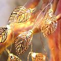 Oppeull Metal Gold Leaf Fairy Lights, 3D Iron Art Waterproof String Lights USB/Battery Operated String Lights for Garden Yard Bedroom Landscape Wedding Party Decoration Light (Battery Powered)