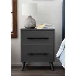 LUCID Dream Collection Grey Laminate 2 Drawer Nightstand