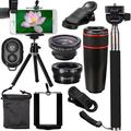 All in 1 Universal Phone Camera Lens Top Spring Travel Outdoor Kit for iPhone 11 Pro Max XS Max/XS/XR/X, 8 Plus/8, 7 Plus/7, for Samsung Galaxy Note 8 S10/S9/S8/S8 Plus, for HUAWEI