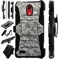 For Coolpad Illumina (2018) Case Armor Hybrid Phone Cover LuxGuard Holster (Digital Camo ACU)