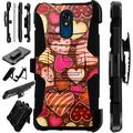 Compatible LG Stylo 5 LG Stylo 5 Plus Case Armor Hybrid Phone Cover LuxGuard Holster (Chocolate Hearts)