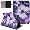 Allytech Folio Case for All New Amazon Kindle Paperwhite 10th Generation 2018, PU Leather 3D Pattern Slim Fit Shockproof Kickstand Case Cover for All Kindle Paperwhite Generations, Purple Butterfly