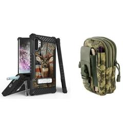 BC Tri Shield Military Grade (MIL-STD 810G-516.6) Impact Resistant Case (USA Deer Camo) with Tactical Organizer Travel Pouch (ACU Pixel Camo) Compatible with Samsung Galaxy Note 10+ Plus/5G