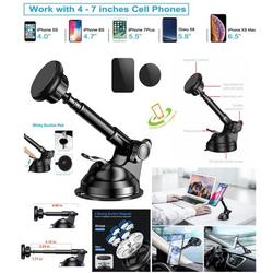Universal Magnetic Phone Car Mount Holder Powerful Grip for Car Dashboard and Windshield, 360° Rotation with 6 Strong Magnets & Metal Telescopic Arm Compatible with Fit Most Smartphone 4 - 7 inch
