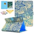 iPad 9.7 2018 & 2017 Case, iPad Air 1 Air 2 Case, Allytech PU Leather Flip Wallet Case with Auto Sleep/Wake Smart Folio Stand Cover for Apple iPad 5th/6th Generation/ iPad Air 1 2, Blue Flower