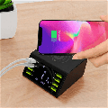 8-Port Wireless Charging Station, LCD fast chargerMultiple USB Charger & 1 Wireless Qi Desktop Charging Station Hub with Quick Charge 3.0 USB Port (Black)