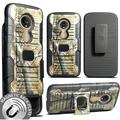 Nakedcellphone [Camouflage] Tree Leaf Real Woods Grip Case Cover + Belt Clip Holster Stand [Built-In Mounting Plate] for Motorola Moto E5 Play, E5 Cruise, XT1921