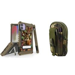 BC Tri Shield Series Military Grade (MIL-STD 810G-516.6) Impact Resistant Stand Case (Deer Camo) with Tactical Organizer Travel Pouch (Jungle Camo) and Atom Cloth Compatible with Apple iPhone 11