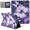 iPad 4 Case, iPad 3 Case, iPad 2 Case, Allytech 3D Pattern PU Leather Protective Smart Case with Auto Sleep Wake Folio Kickstand Cards Slots Wallet Case Cover for Apple iPad 2 3 4, Purple Butterfly