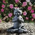 FMOGE Yoga Cat Decor Outdoor Art Sculptures/Meditation Cat Statues Home Lawn Decor Ornaments/Zen Cat Animals Statues for Patio Fence Yard Art/Cat Buddha Garden Statues-Cat