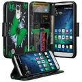 LG Fortune Case, LG Phoenix 3 Case, LG V1 Case, LG K4 2017 Case, SOGA [Pocketbook Series] PU Leather Magnetic Flip Design Wallet Case for LG Fortune / Phoenix 3 / V1 / K4 (2017) - Green Butterfly