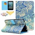 Fire 7 2015 Case, Allytech PU Leather Smart Case with Card Slots Stylus Pen Folio Cover for Amazon Kindle Fire 7.0 inch (5th Generation 2015 Release), Blue Flower