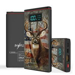 INFUZE Slim Pocket 12000mAh Portable Charger Dual USB Output Ports (USB-A, USB-C) 18W QC 3.0 Fast Charging Power Bank Battery Compatible with Alcatel INSIGHT/TCL A1 (A501DL) - USA Deer Hunter Camo