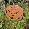 Anjujia Happy Halloween Evil Metal Pumpkin - Pumpkin Jack O Lantern Garden Stake, Rusty Metal Pumpkin Garden Ornaments, Outdoor Yard Accessory, Garden Sculpture (A)