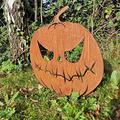 Anjujia Happy Halloween Evil Metal Pumpkin - Pumpkin Jack O Lantern Garden Stake, Rusty Metal Pumpkin Garden Ornaments, Outdoor Yard Accessory, Garden Sculpture (C)
