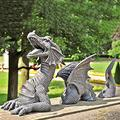 FMOGE Large Dragon Gothic Garden Decor Statues/Castle Moat Lawn Dragon Outdoor Statue Funny Garden Sculptures and Statues/Yard Art Resin Dragon Figurines Ornaments for Home Decor-White One Size