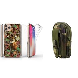BC TriMax Series Full Body 360 Coverage Case with Self-Healing Flexible Gel Screen Protector (Deer Camo), EDC Tactical Travel Pouch (Jungle Camo) and Atom Cloth Compatible with Apple iPhone 11 Pro