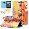 Fire 7 2015 Case, Allytech PU Leather Smart Case with Card Slots Stylus Pen Folio Cover for Amazon Kindle Fire 7.0 inch (5th Generation 2015 Release), Colorful Cat