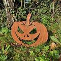 Anjujia Happy Halloween Evil Metal Pumpkin - Pumpkin Jack O Lantern Garden Stake, Rusty Metal Pumpkin Garden Ornaments, Outdoor Yard Accessory, Garden Sculpture (D)