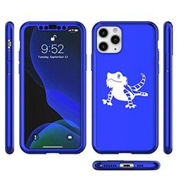 360° Full Body Thin Slim Hard Case Cover + Tempered Glass Screen Protector for Apple iPhone Bearded Dragon Lizard (Blue, for Apple iPhone 11 Pro Max)