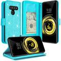 LG G8 Thinq Case / LG G8 Case Cover [Kickstand] Cute Glitter Sparkle Girly Girls Women Leather Wallet Case Pouch Protective Cases for LG G8 ThinQ/LG G8 - Glitter Teal