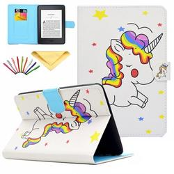 Kindle Paperwhite E-reader Case, Allytech PU Leather Smart Case w/Auto Sleep Wake Stylus Pen Folio Cover for Amazon Kindle Paperwhite (Fits 2012, 2013, 2015 and 2016 Versions), Rainbow Uncorn