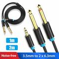"""3.5mm 1/8"""" TRS to Dual 6.35mm 1/4"""" TS Mono Stereo Y-Cable Splitter Cord Compatible for iPhone, iPod, Computer Sound Cards, CD Players, Multimedia Speakers and Home Stereo Systems, 3.3ft/6.6ft"""