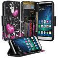 LG Fortune Case, LG Phoenix 3 Case, LG V1 Case, LG K4 2017 Case, SOGA [Pocketbook Series] PU Leather Magnetic Flip Design Wallet Case for LG Fortune Phoenix 3 V1 K4 (2017) - Black Butterfly Heart