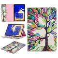 Allytech Folio Case for Samsung Galaxy Tab S4 10.5 2018 Model SM-T830/T835/T837, [Corner Protection] Premium PU Leather Stand Case Cover with Credit Card Cash Holder, Lucky Tree
