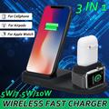 3 IN 1 Wireless Charger Fast Charging Pad Stand Station Dock For Watch Airpods Headphone Galaxy S9 iPhone X XS